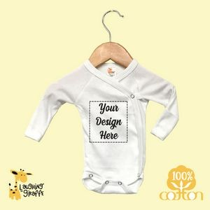 White//Red Laughing Giraffe Raglan Baseball Baby Sleeping Gown with fold-Over Mittens